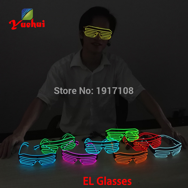 Bright EL Wire LED Glasses Luminous Colorful Glowing Shutter glasses For Dance Party Decoration With Flashing/Steady On Inverter