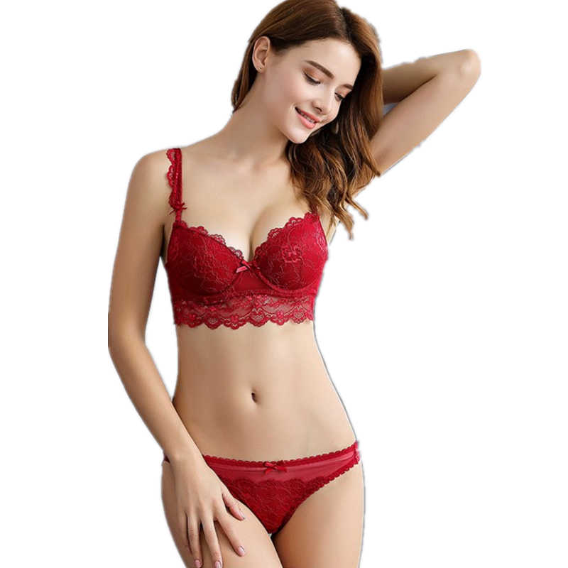 dd54970d2f7e4 Free shipping Fashion autumn and winter underwear female sexy lace  adjustable bra set thin plus size