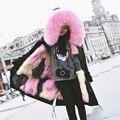 Женщины Меха Куртка Новый 2016 Зима Теплая Куртка Пальто Толстые Парки Настоящее Меховым Воротником С Капюшоном Лисий Мех Подкладка Куртка Женщина