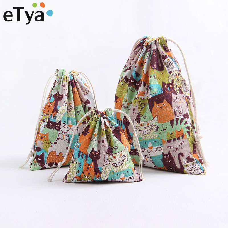 eTya Women Makeup Organizer Travel Cosmetic Bag Cotton Linen Drawstring Cosmetics Storage Case Multifunctional Female Makeup Bag