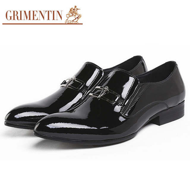 Italian Fashion Mens Dress Shoes Genuine Patent Leather black Wedding male shoes 2019
