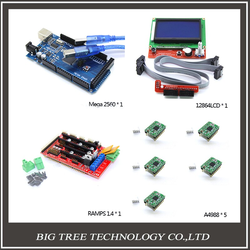 3D Printer kit-1pcs Mega 2560 R3 + 1pcs RAMPS 1.4 Controller + 5pcs A4988 Stepper Driver Module +1pcs 12864 controller, цена и фото