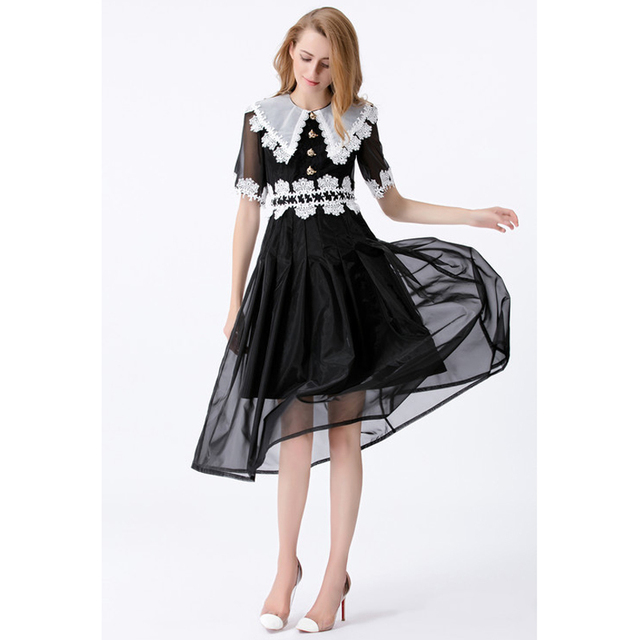 Plus Size Womens Summer Dress Black And White Patchwork Organza