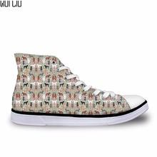 Designer Poodle Dog Canvas Shoes for Women Leisure High-top