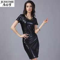 Bán hot summer nữ da thời trang giản dị dress slim fit đen dress ngắn tay áo dress mùa thu thanh lịch work pencil pu Vestido