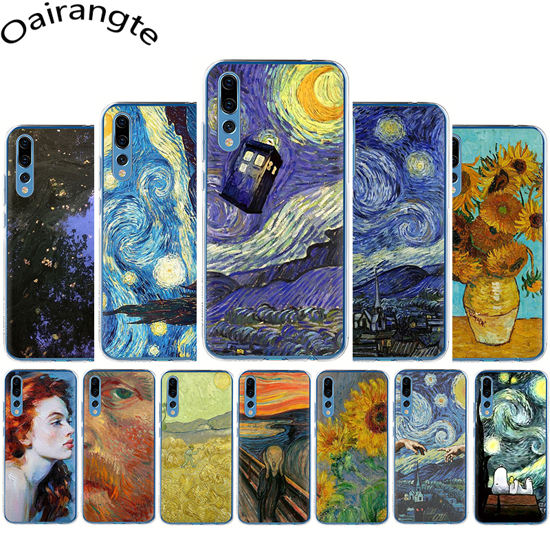 Van Gogh Tardis Hard phone Case for Huawei Honor 6A 6C 7A Pro 7C 7X 8C 8X 8 9 10 Lite Play view 20 9X Pro