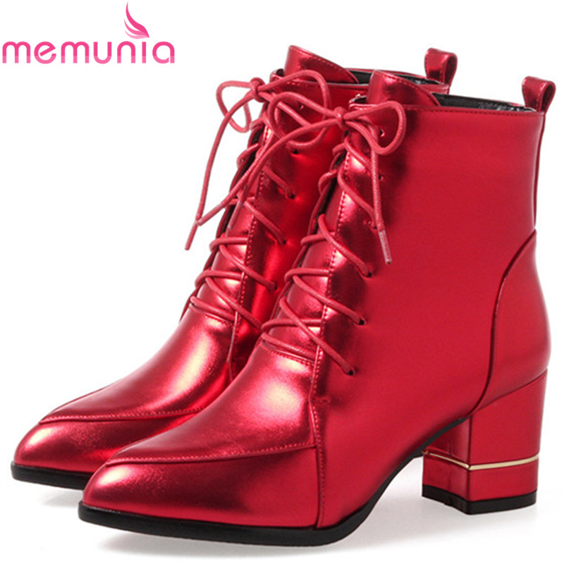 MEMUNIA Large size 34-43 high heels shoes woman PU soft leather ankle boots for women zip pointed toe womens boots female enmayla ankle boots for women low heels autumn and winter boots shoes woman large size 34 43 round toe motorcycle boots