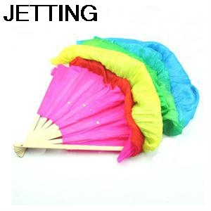 Hot Selling Colorful Belly Dancing Fans Tools Women Hand Made Good Quality Simulation Silk Bamboo Long Veils Fans for Women