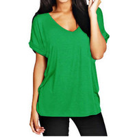 13 Colors Fashion V Neck Short Sleeve Casual T Shirts Summer Women New Arrivals S-2xL Plus Size Loose European Style Tops