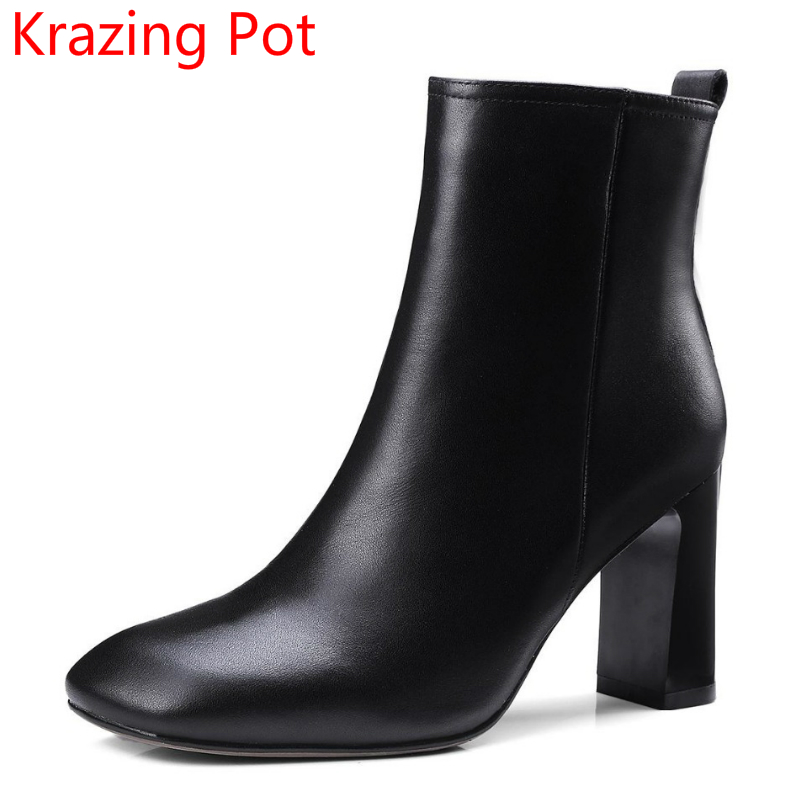 2018 New Arrival Genuine Leather Square Toe Fashion Winter Boots Thick Heel Warm Zipper Runway Superstar Women Ankle Boots L68 купить дешево онлайн