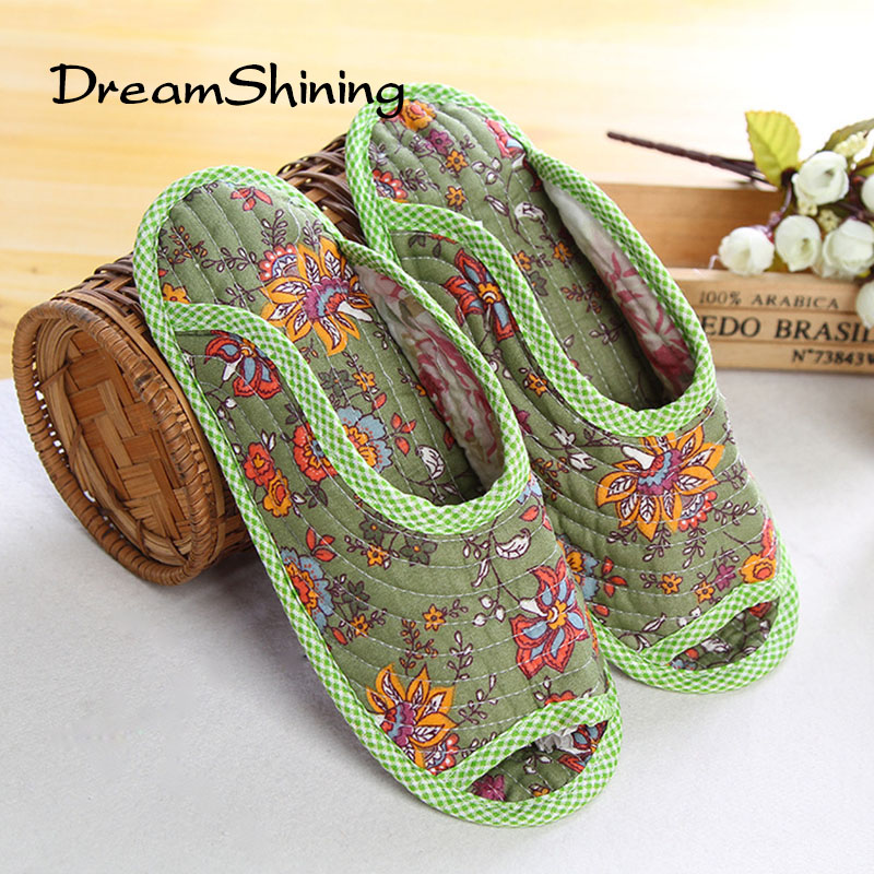 DreamShining Cute Floral Winter Women Home Slippers For Indoor Bedroom House Soft Bottom Cotton Warm Shoes Adult Guests Flats new winter soft plush cotton cute slippers shoes non slip floor indoor house home furry slippers women shoes for bedroom z131