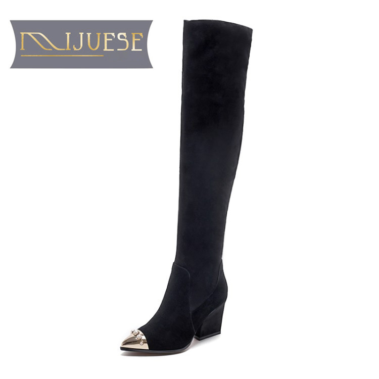MLJUESE 2019 women over the knee Kid Suede winter short plush pearls high boots black color square heels high boots size 33-41