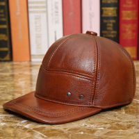 100% Genuine Leather Hat Male Fashion Baseball Cap Adjustable Cowhide Outdoor Leisure Warmth Ear Protectors Baseball Cap B 8652
