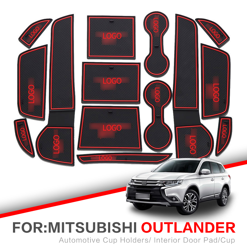 ZUNDUO Gate Slot Mats For Mitsubishi Lancer 2008 - 2016 ASX RVR Outlander Sport 2008 - 2018 Cup Holders Non-slip Mat RED WHITE
