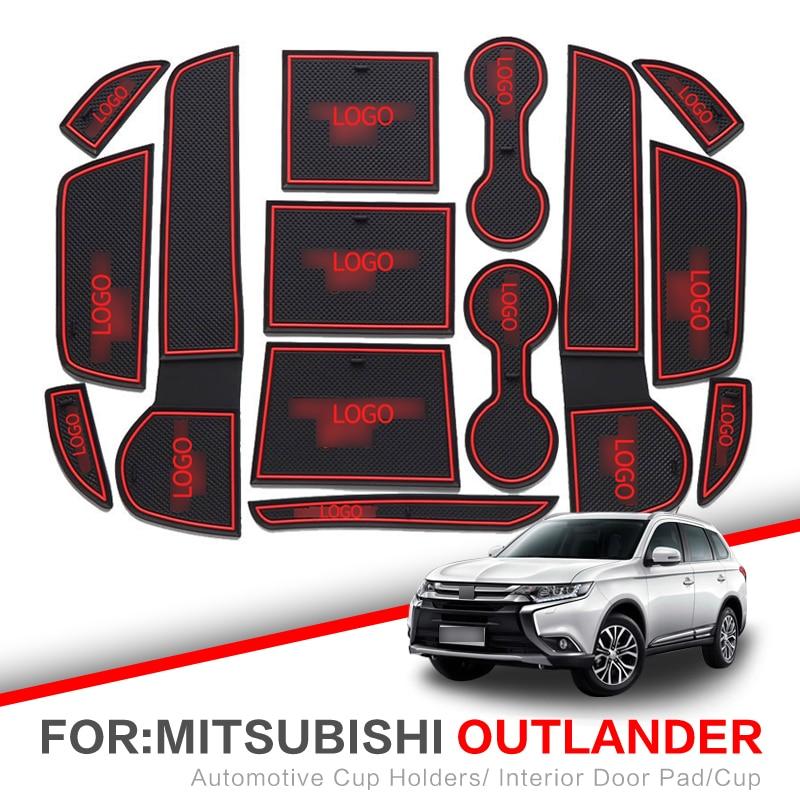 ZUNDUO Gate Slot Mats For Mitsubishi Lancer 2008 - 2016 ASX RVR Outlander Sport 2008 - 2018 Cup Holders Non-slip Mat RED WHITE