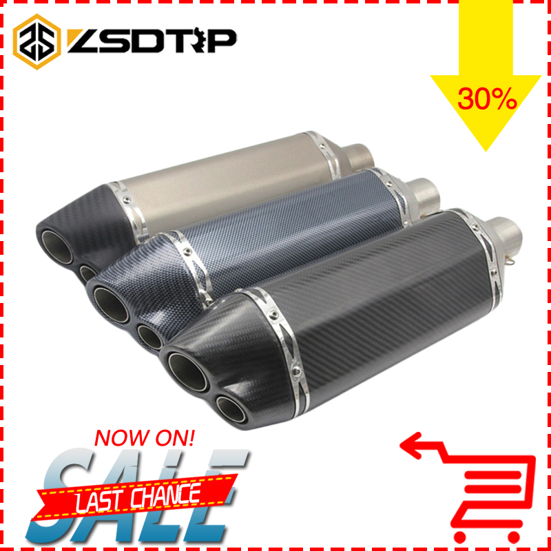 ZSDTRP Universal Carbon Fiber Color 51mm Motorcycle Exhaust Muffler Pipe Escape Moto Fit for Most Motorcycle GSXR CBR