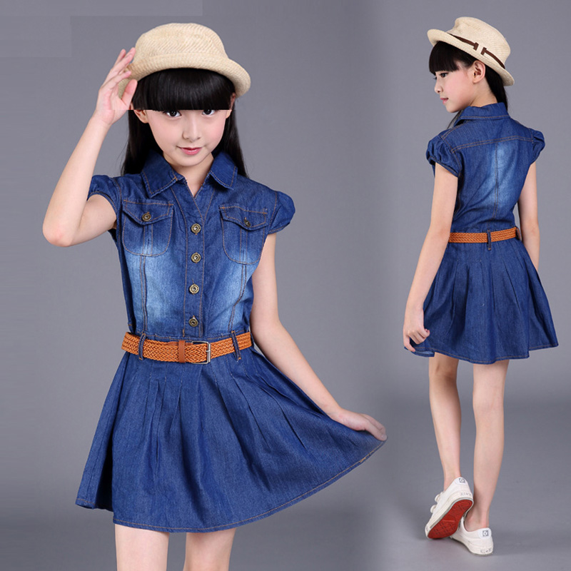 4 <font><b>5</b></font> 6 7 8 9 10 11 12 14 15 Years Old Children Kids Denim Cowboy Dress For Teens Girls Summer Dress Vestidos Clothes New 2018 48 image