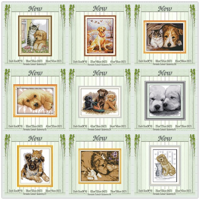 Cat and Dog animals Labrador puppy painting counted printed on canvas Cross Stitch kits DMC 11CT 14CT needlework Sets embroidery