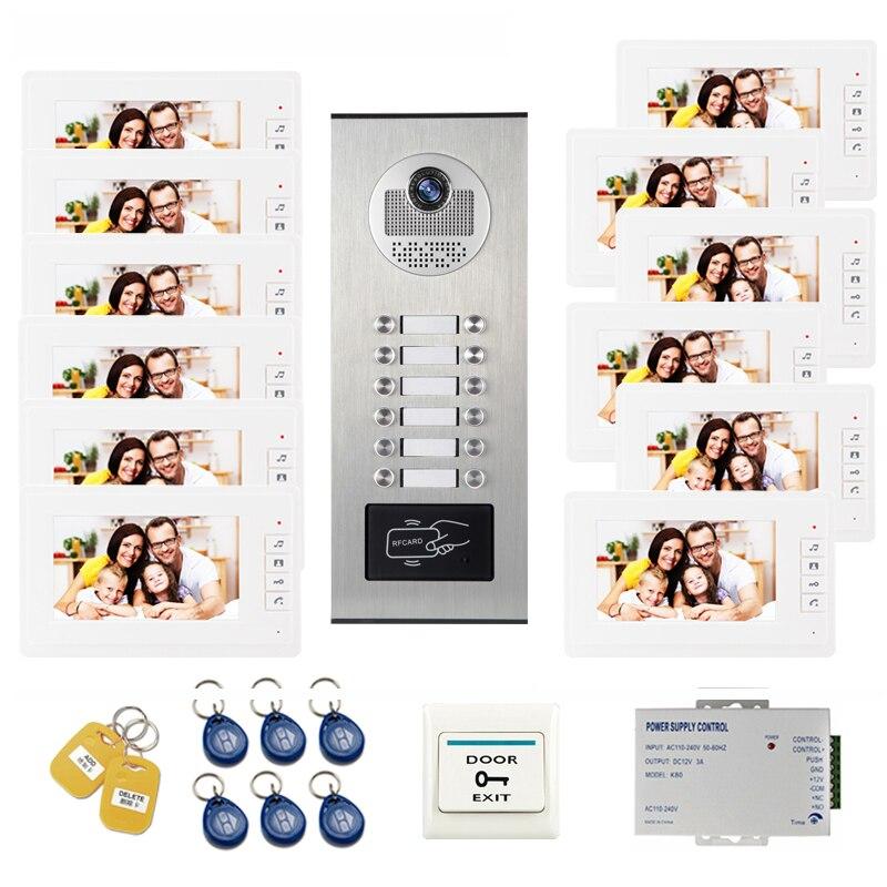 JEX Video Door Intercom 7 Inch Video Door Phone Video Doorbell System with RFID Access Door Camera For 12 Unit Apartment все цены