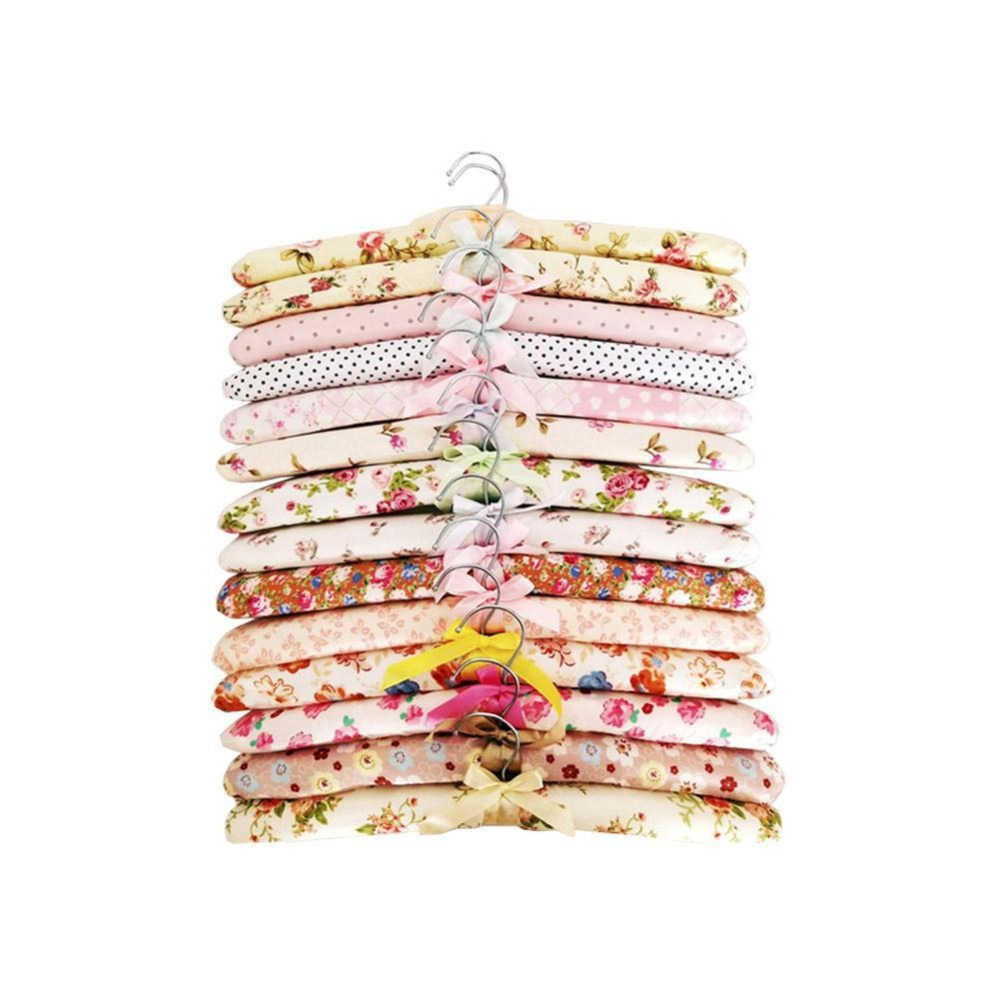 5 PCS Floral Sponge Hook  Cotton Satin Padded Coat Clothes Suit Dress Hangers Rack Home Drying Racks Wholesale
