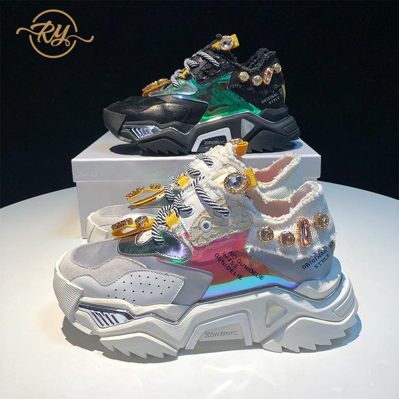 RY-RELAA femmes baskets 2018 chaussures de luxe femmes designers en cuir véritable strass baskets ins style plate-forme femmes chaussures