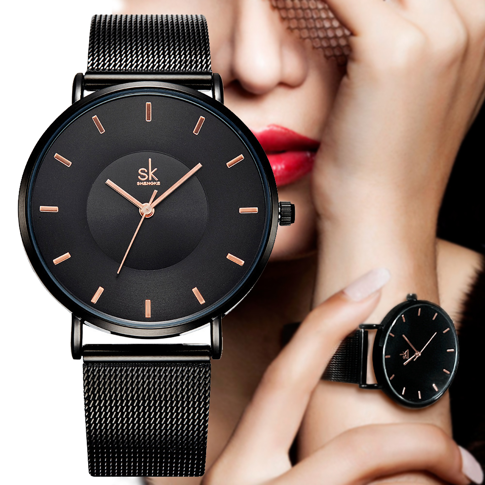 SK Fashion Black Women Watches High Quality Ultra Thin Quartz Elegant Dress Ladies Watch Montre Femme Mesh belt Watch Women 2018 chic black mesh spliced dress for women