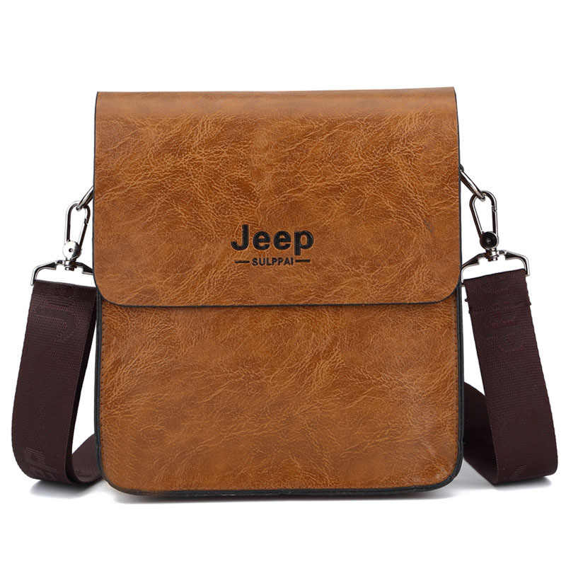 2c401d43f0 ... New JEEP BULUO Fashion Business Men s Crossbody Bag PU Leather Shoulder  Bag Briefcase for Men Jeep ...