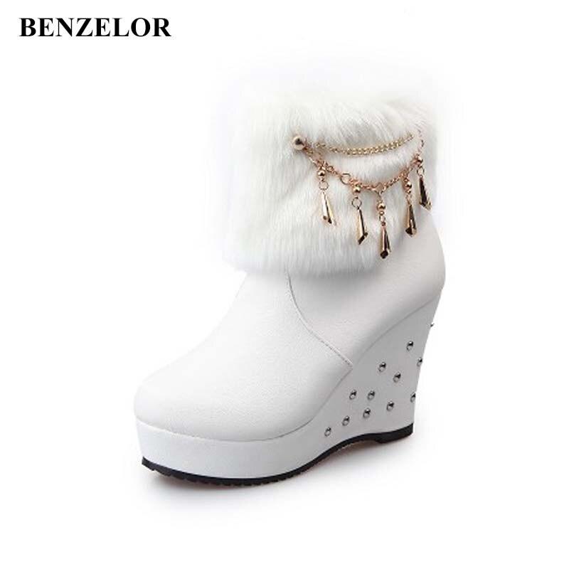 Benzelor 2018 Winter Faux Fur Fashion Wedges Heels Women Shoes Woman Boots Platform Warm Snow Luxury Femme Ladies Boot White Clear-Cut Texture