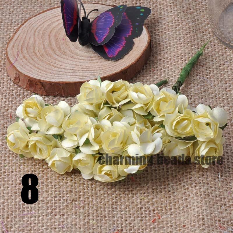 24 шт. 15 мм мини искусственный Бумага розы букет Свадебный декор Скрапбукинг DIY cp0022x - Цвет: 8