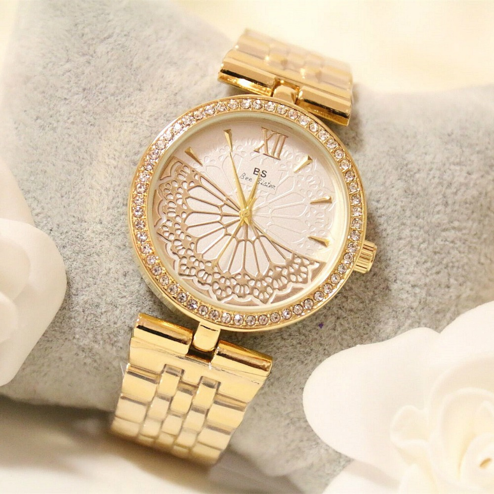New Arrival Famous Brand Luxury Women Watch Fan Gold Lace Hollow Watch Lady Dress Watch Rhinestone Full Crystal Bangle Bracelet spring big sale brand bs luxury 14k gold diamond women watch lady gold siliver dress watch rhinestone bangle bracelet