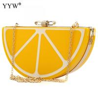 hot sale Lemon Fruit pattern bags yellow Day Clutches Single Chains bag Small Women Evening Bag