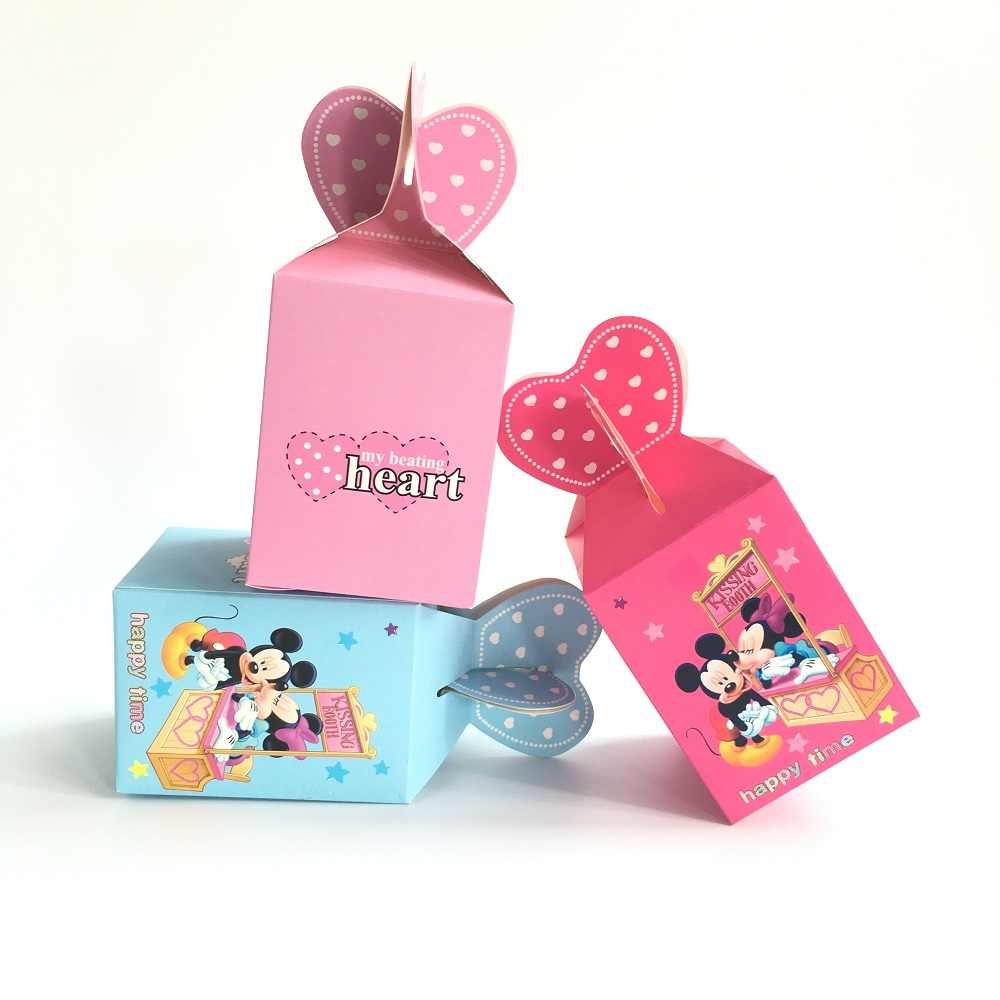 20pcs Baby Shower Gift Box Birthday Decorations Candy Box For Boy And Girl Kids Favor Boxes Minnie Mickey Mouse Party Supplies
