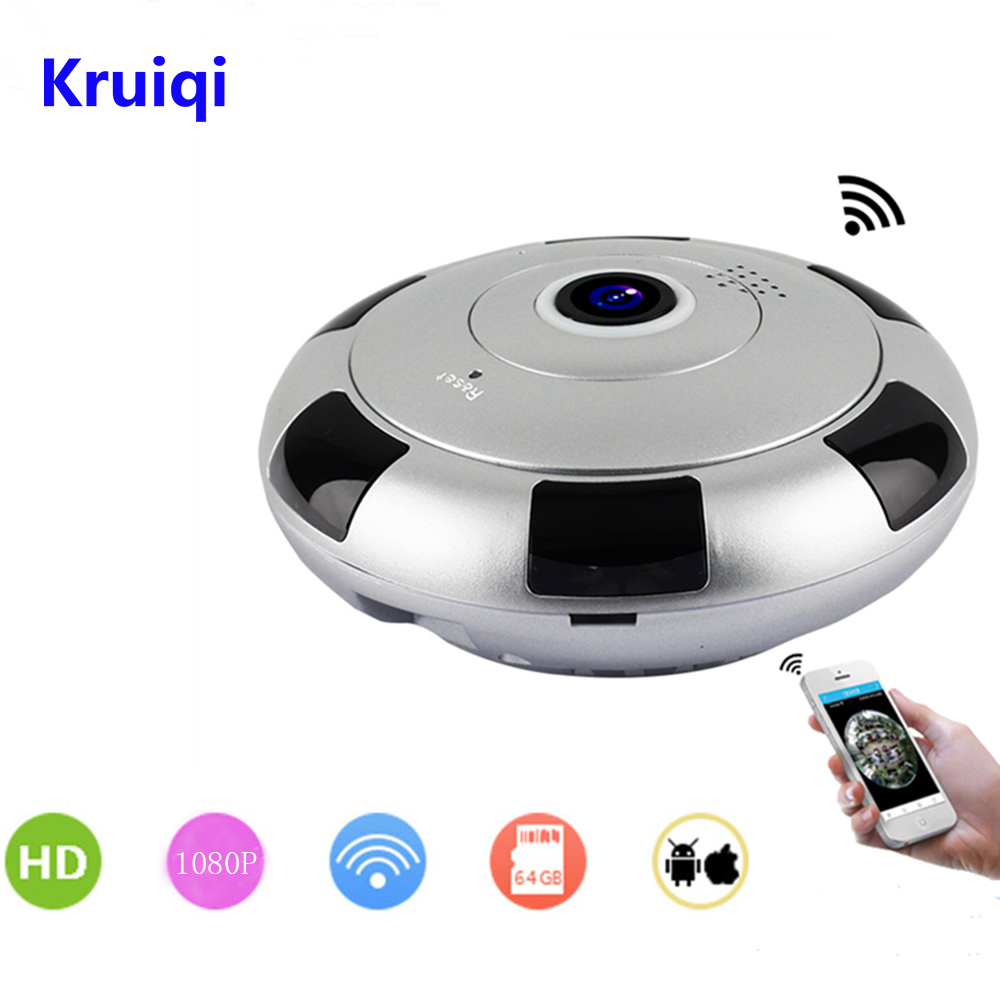 Kruiqi 360 Panoramic Wireless IP Camera WiFi 2Megapixel HD Fisheye Lens Wide Angle VR CCTV Home Security Surveillance CameraKruiqi 360 Panoramic Wireless IP Camera WiFi 2Megapixel HD Fisheye Lens Wide Angle VR CCTV Home Security Surveillance Camera