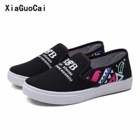 2017 Spring Autumn Women Casual Shoes Fashionable Vulcanization Rubber Canvas Shoes Slip On Breathable Graffiti Flat