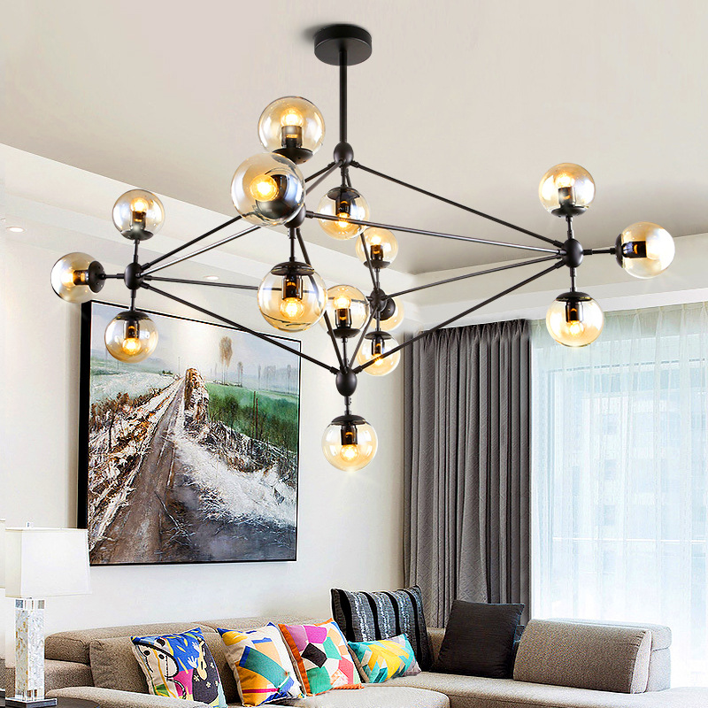 Loft Minimalist Chandeliers The Beanstalk LED Retro Lamps Art Decoration Lights E27 Industrial Glass Chandelier For Restaurant