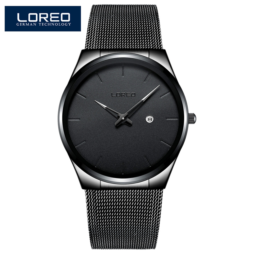 LOREO 2019 New Simple Design Quartz Watch Male 316L Stainless steel 30M Waterproof Auto Date Mesh Strap Ultra Thin Men's Watch|Mechanical Watches| |  - title=