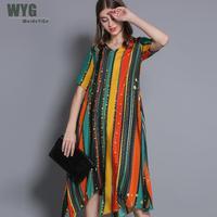 Boho Oversize Dresses 2019 Summer Rainbow Stripes Print Short Sleeve Elegant Natural Silk Plus Size Dress For Women 3XL XXXL