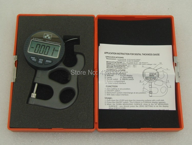 Precision Digital Thickness Gauge micrometer thickness gauge tester thickness meter accuracy 0.001-12.7mm/0.00005-0.5inch 0 5mm portable thickness gauge tester 0 001mm micrometer thickness meter measurement tool bc05