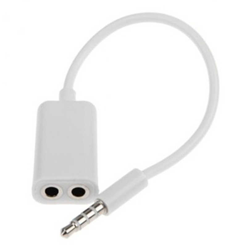 3.5mm Stereo Splitter Audio Male to Earphone Headset + Microphone Adapter White High Quality Dropshipping