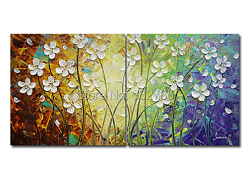 High Quality 2 Piece/set Hand Painted Home Decor Living Room Hall Wall Art Picture White  Flower Thick Colors Palette Knife Oil Painting