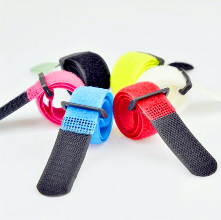 5Pcs Reusable 2*20CM Buckle strap Cable Ties wiring harness nylon cord self adhesive fastener straps home use organizer