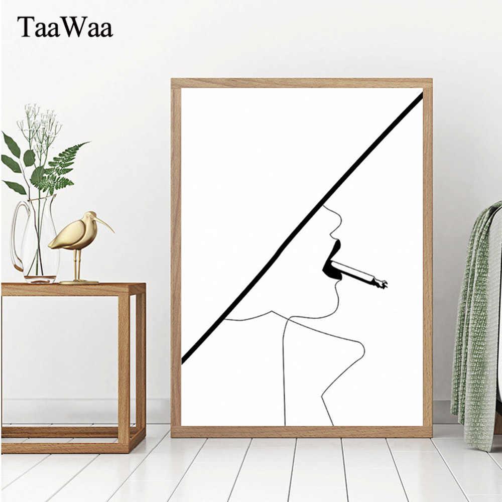 In Bianco e nero Lascia Cervi Tela Poster Art Stampa Stile Nordico In Diretta Citazione Semplice Immagine della Parete Della Pittura per Soggiorno decor