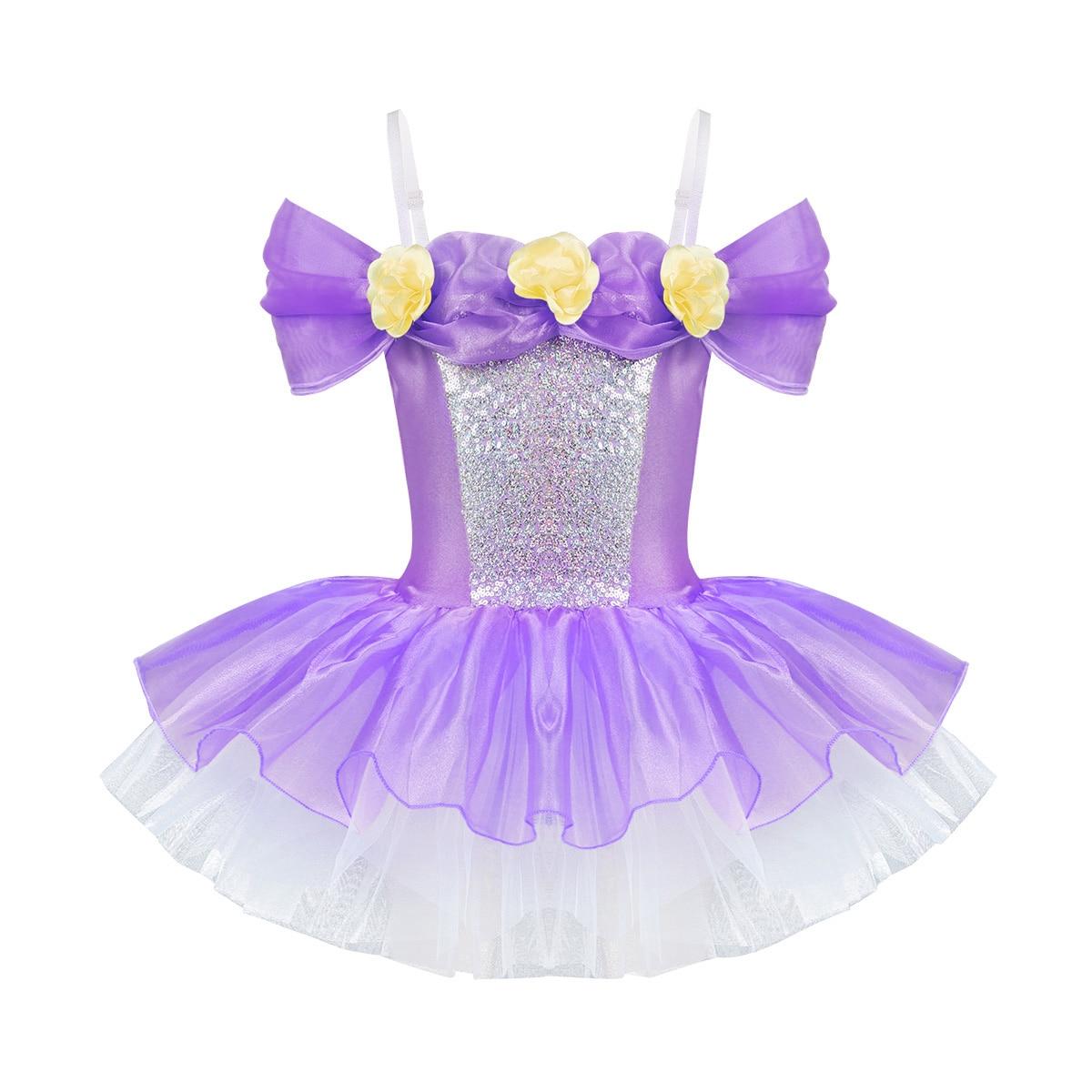 UK Girls Flower Ballet Dance Tutu Dress Gymnastics Leotards Skirt Show Costumes