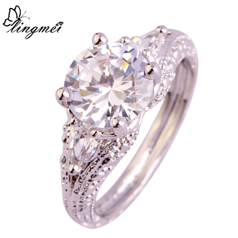 lingmei Free Shipping Shiny White CZ Popular Silver Ring Women Wedding Jewelry Size 6 7 8 9 10 11 Couples Rings Wholesale