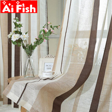 Modern Brief All-match Flax Curtains Fabric Window For Striped Coffee Luxury Tulle Decorative Curtains for living room AP222 &20