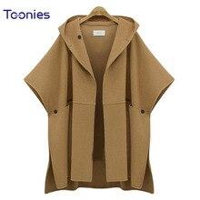 Bat Sleeve Hooded Women's Cloak Women Basic Coats 2017 Autumn Winter Woolen Coat Long Female Bomber Jacket Windbreaker Jacket