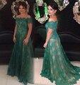 2017 Elegantes Vestidos de Noche Fuera del Hombro de Encaje de Color Verde Oscuro botones A-line Tribunal Tren Vestidos Formales Madre de la Novia vestido
