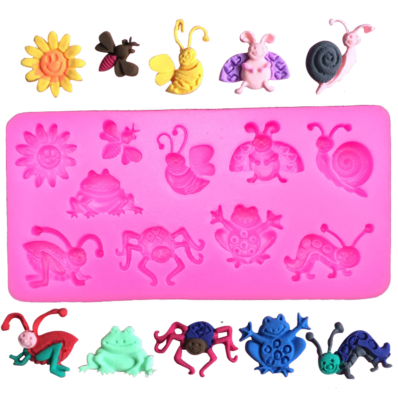 3D Reverse sugar molding insect flower appear Food Grade silicone mould for polymer clay moulds cake decorating tools FT-0019