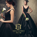 Freeshipping! 2017 New Arrival Temperamento Elegante Profundo Decote Em V Breve Preto Celebrity Dress/Vestido de Noite 882