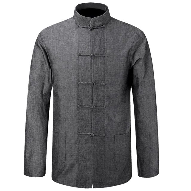 653d973b22 Long Sleeve Cotton Shirt Traditional Chinese Clothes Tang Suit Coat  clothing Kung Fu Tai Chi Uniform Autumn Thin Jacket for Men
